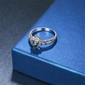 Zinc Alloy Heart Cut Rainbow Gemstone Sz 6 Ring